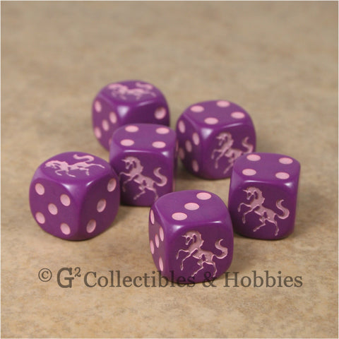 Unicorn 6pc Dice Set - Purple