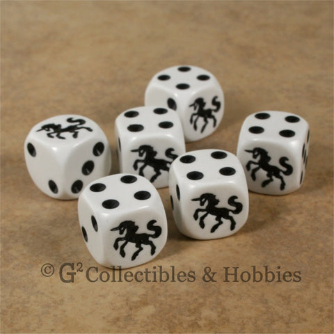 Unicorn 6pc Dice Set - White