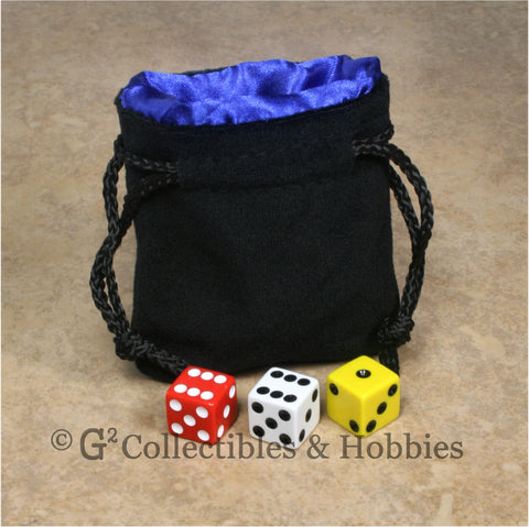 Dice Bag: Small Black Velvet with Blue Satin Lining