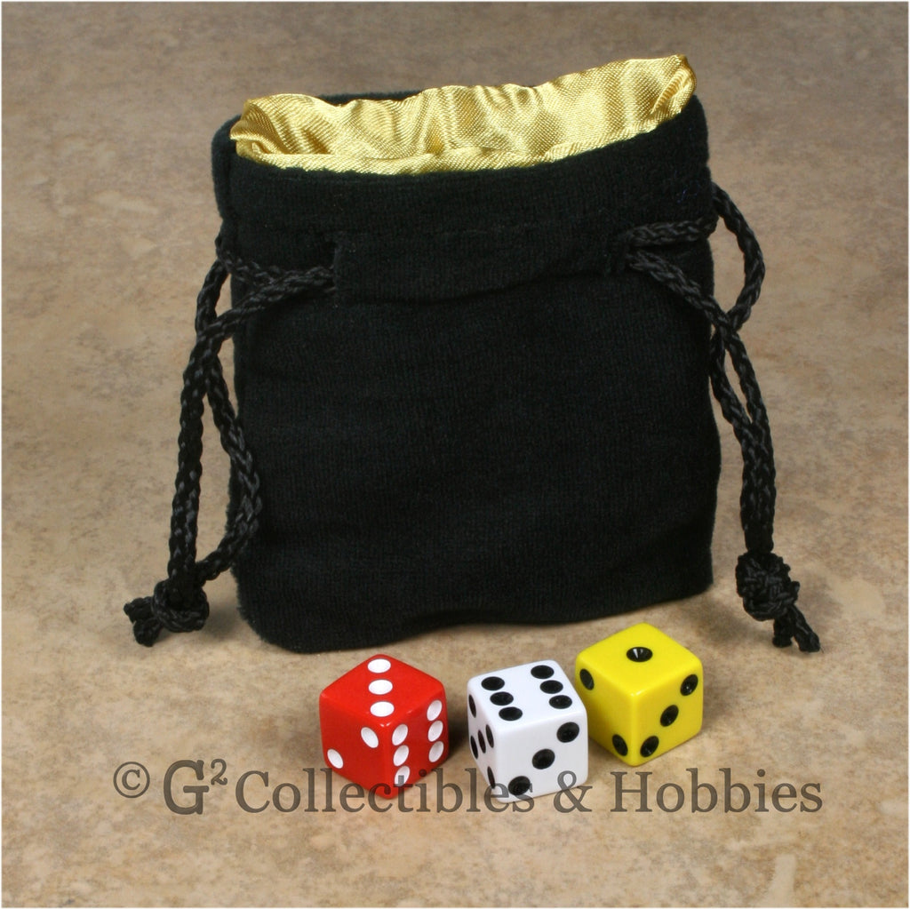 Dice Bag: Small Black Velvet with Yellow Gold Satin Lining