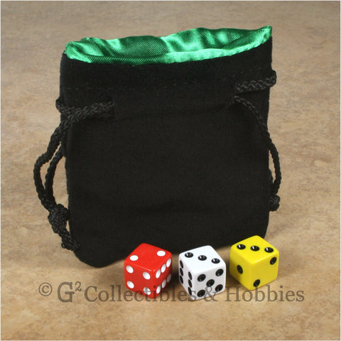 Dice Bag: Small Black Velvet with Green Satin Lining
