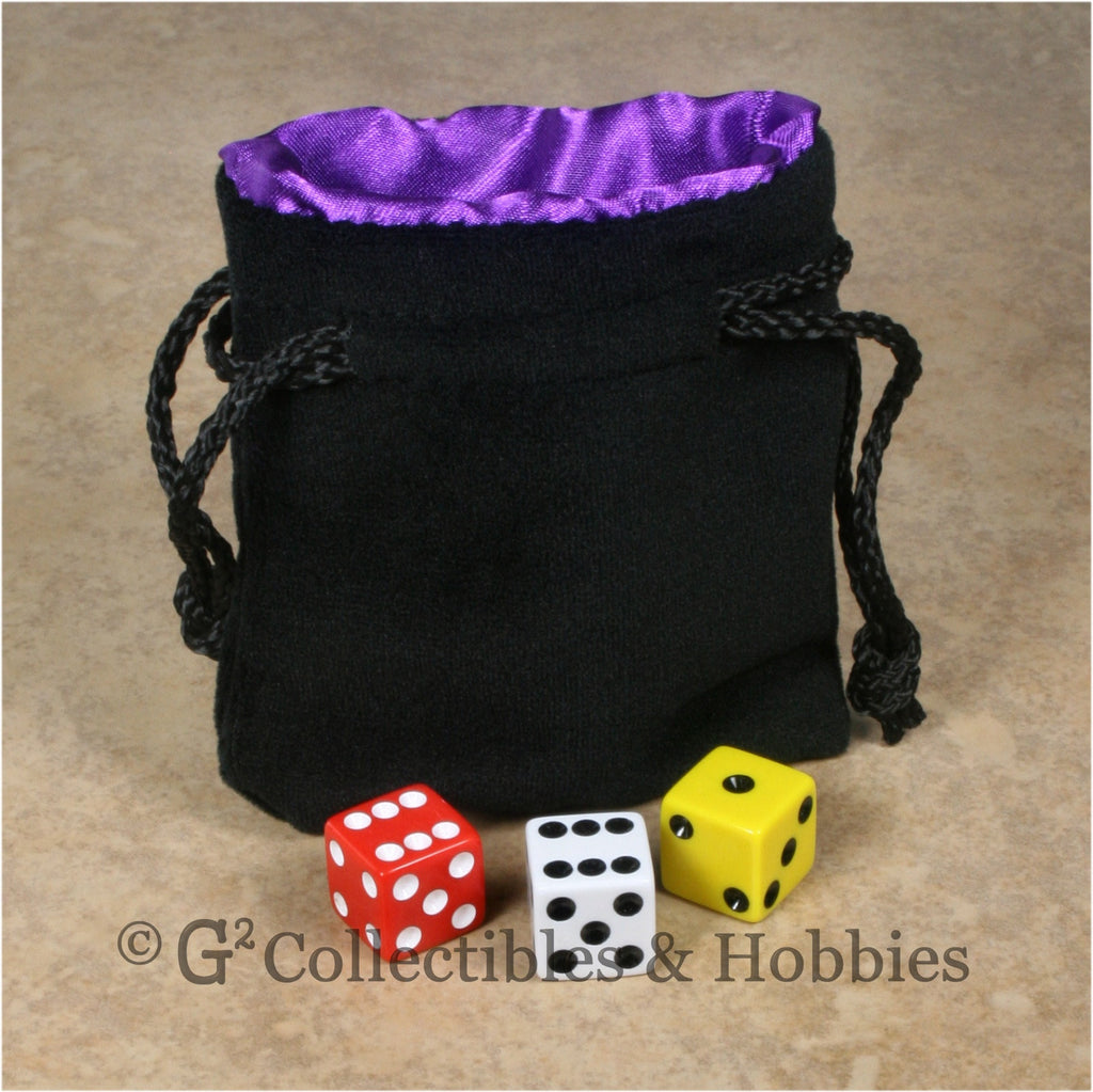 Dice Bag: Small Black Velvet with Royal Purple Satin Lining