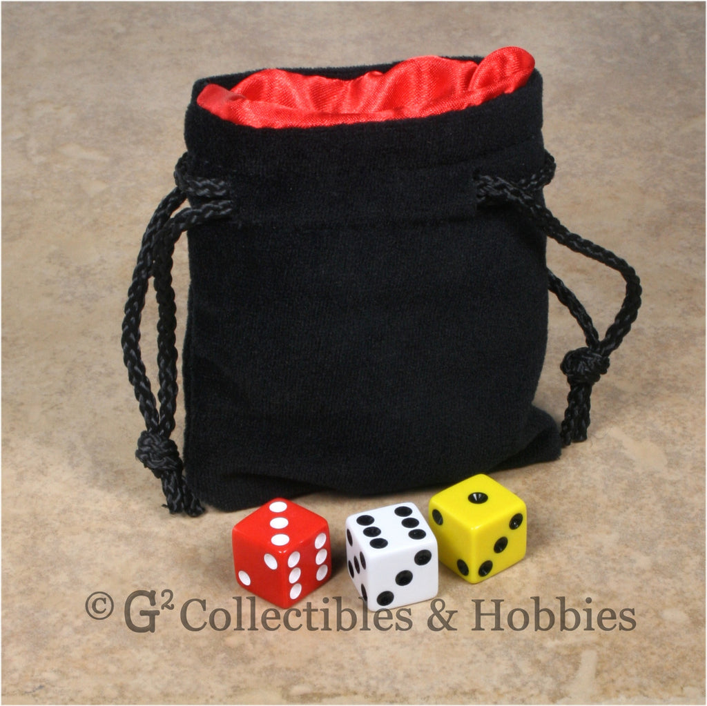 Dice Bag: Small Black Velvet with Red Satin Lining