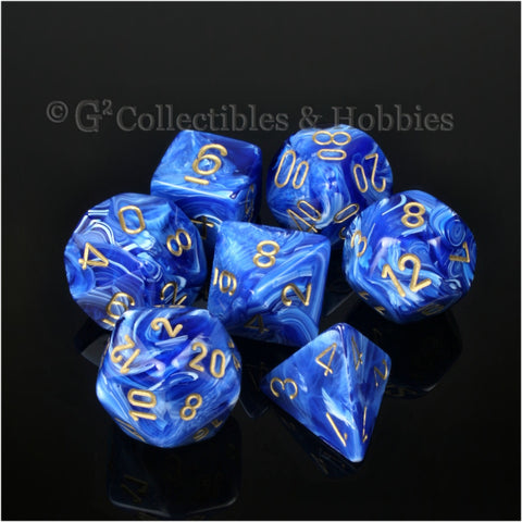 RPG Dice Set Vortex Blue with Gold Numbers 7pc