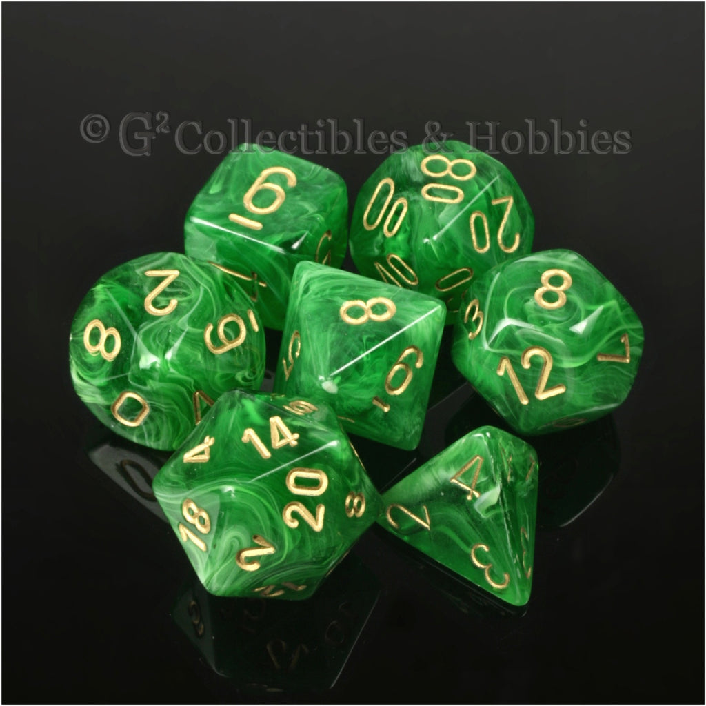 RPG Dice Set Vortex Green with Gold Numbers 7pc
