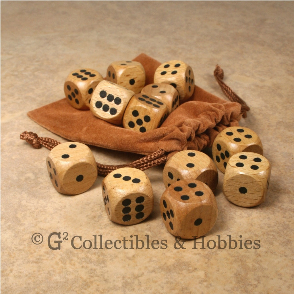 D6 16mm Wood (Light Stained) 12pc Dice & Bag Set