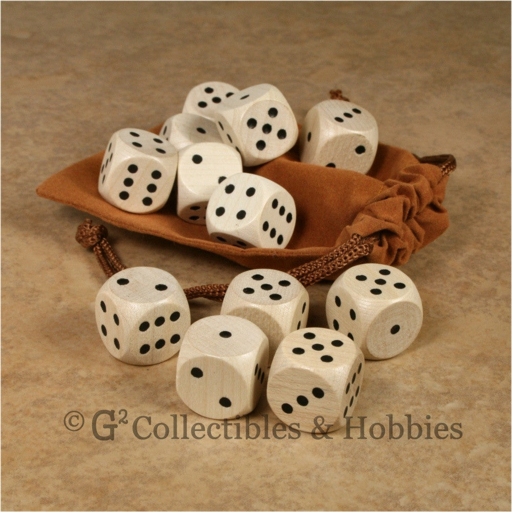 D6 16mm Wood (Clear Stained) 12pc Dice & Bag Set