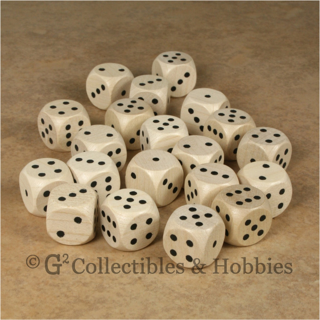 D6 16mm Wood (Clear Stained) 20pc Dice Set