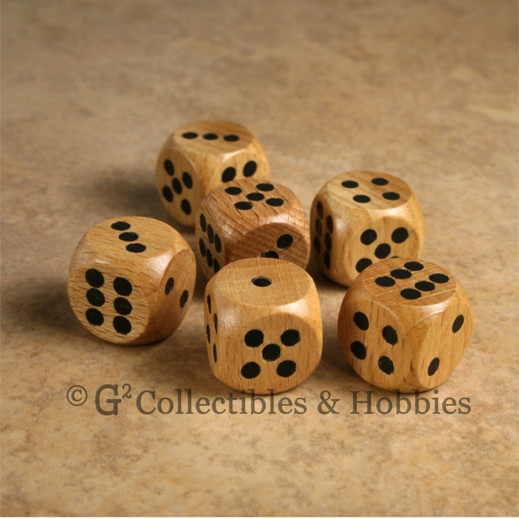 D6 16mm Wood (Light Stained) 6pc Dice Set