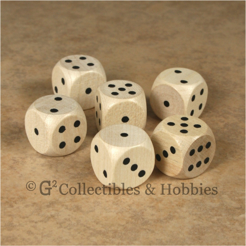 D6 16mm Wood (Clear Stained) 6pc Dice Set