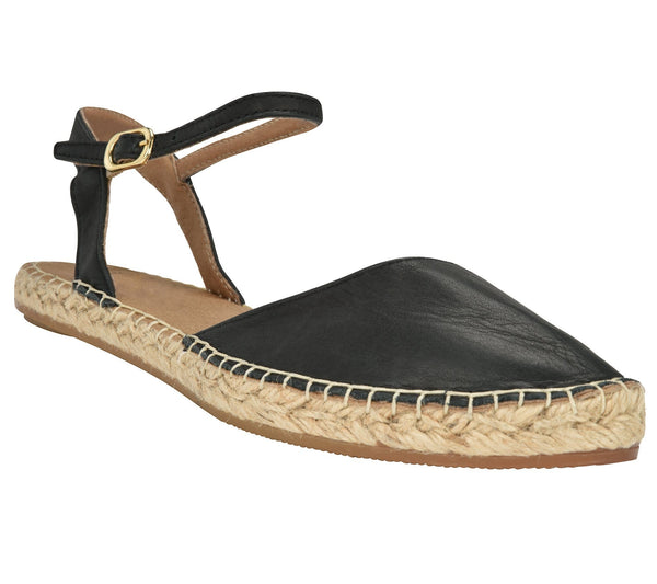 Capri Black leather Espadrille Flat - Andrew Stevens Footwear