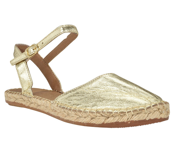 Capri Gold leather Espadrille Flat - Andrew Stevens Footwear