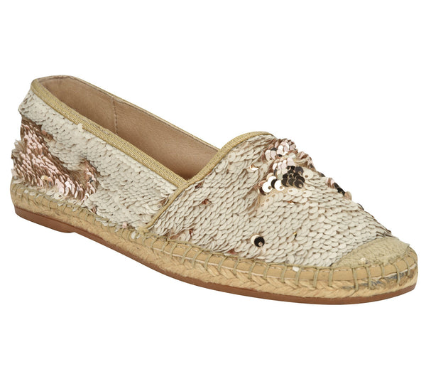 Chiara Beige/Gold sequins Flat - Shop comfortable sneaker, Sandals & high quality flats, wedges online!