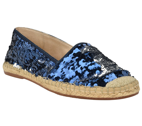 Chiara Blue/Silver sequins espadrille flat - Shop comfortable sneaker, Sandals & high quality flats, wedges online!