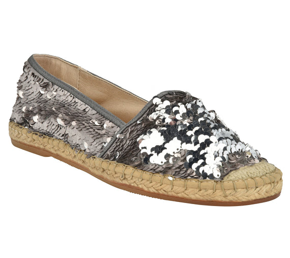 Chiara Pewter/Silver sequins Espadrille flat - Shop comfortable sneaker, Sandals & high quality flats, wedges online!
