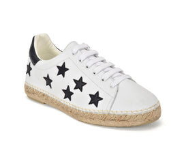 Terra Stars White/Black Graffiti Leather Espadrille Sneaker - Shop comfortable sneaker, Sandals & high quality flats, wedges online!