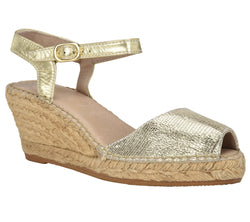 Ana Gold Leather Wedge espadrille Sandal - Andrew Stevens Footwear