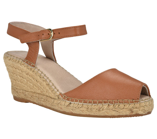 Ana Cognac Leather Espadrille Wedge Sandal - Andrew Stevens Footwear