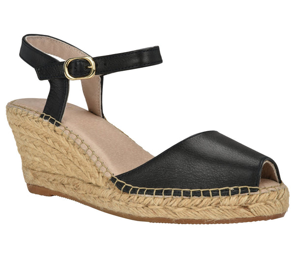 Ana Black Leather Espadrille Wedge Sandal - Andrew Stevens Footwear
