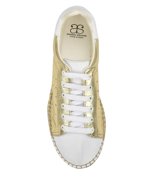 Terra Gold/white leather Espadrille Sneaker - Andrew Stevens Footwear