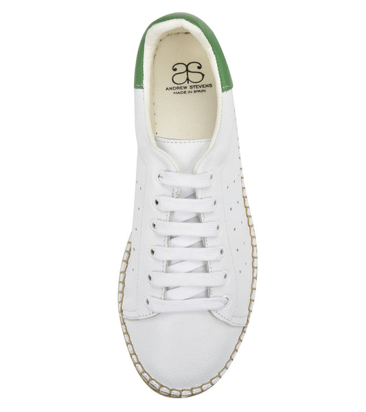 Terra White/Green leather Espadrille Sneaker - Andrew Stevens Footwear