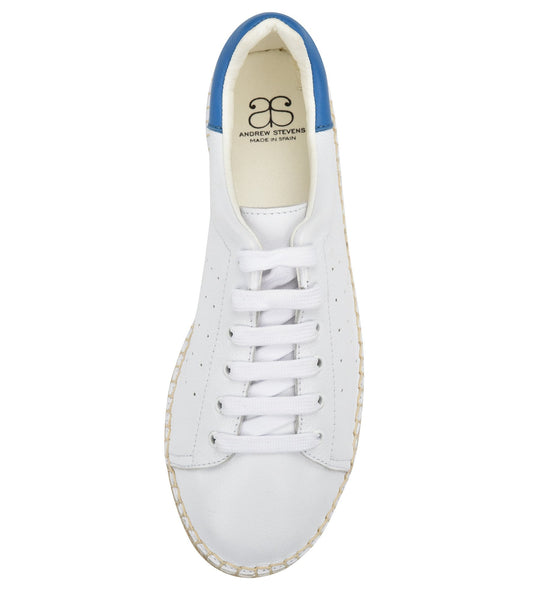 Terra White/Blue leather Espadrille Sneaker - Shop comfortable sneaker, Sandals & high quality flats, wedges online!