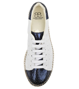 Terra Blue Cracked leather Espadrille Sneaker - Shop comfortable sneaker, Sandals & high quality flats, wedges online!