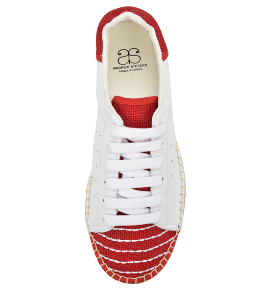 Terra White/Red Linen Espadrille Sneaker - Shop comfortable sneaker, Sandals & high quality flats, wedges online!