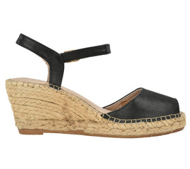 Ana Black Leather Espadrille Wedge Sandal - Shop comfortable sneaker, Sandals & high quality flats, wedges online!