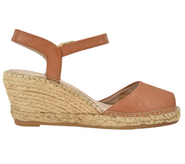 Ana Cognac Leather Wedge espadrille Sandal - Shop comfortable sneaker, Sandals & high quality flats, wedges online!