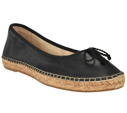 Francis Black leather Espadrille flat - Andrew Stevens Footwear
