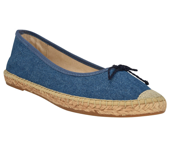 Francis Denim leather Espadrille flat - Andrew Stevens Footwear