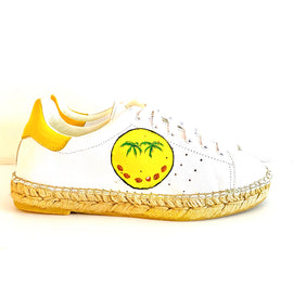 Terra Smiley Coconut Graffiti Leather Espadrille Sneaker - Shop comfortable sneaker, Sandals & high quality flats, wedges online!