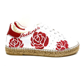 Terra Red Rose Graffiti leather Espadrille Sneaker - Shop comfortable sneaker, Sandals & high quality flats, wedges online!
