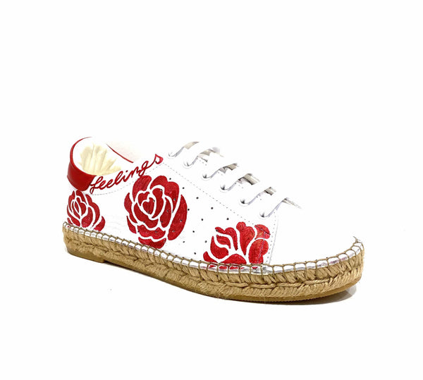 Terra Red Rose Graffiti leather Espadrille Sneaker - Andrew Stevens Footwear