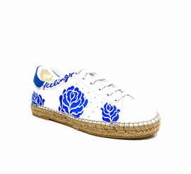 Terra Blue Rose Graffiti leather Espadrille Sneaker - Andrew Stevens Footwear