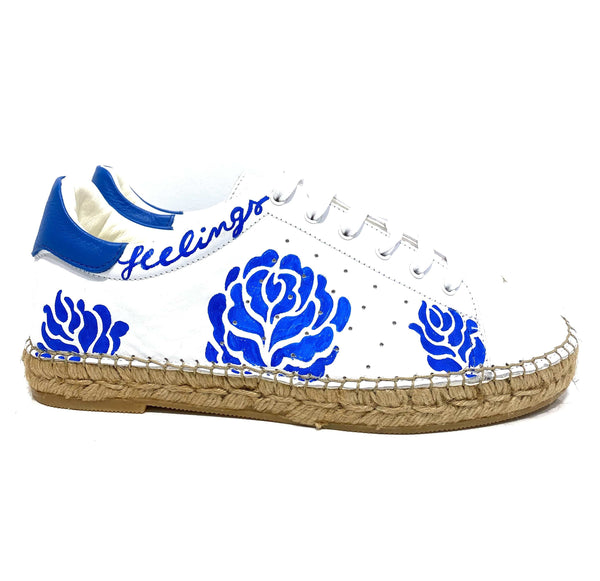 Terra Blue Rose Graffiti leather Espadrille Sneaker - Shop comfortable sneaker, Sandals & high quality flats, wedges online!