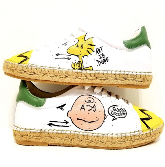 Terra Spoof Graffiti Leather Espadrille Sneaker - Andrew Stevens Footwear