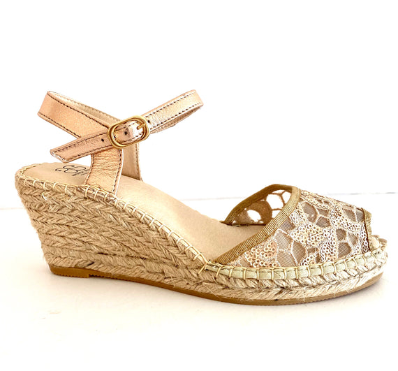 Ana Rose Gold Mesh Wedge espadrille Sandal - Shop comfortable sneaker, Sandals & high quality flats, wedges online!