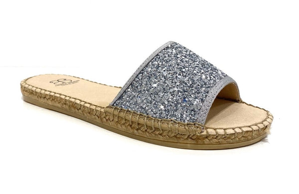 Candice Silver Glitter Sandal - Shop comfortable sneaker, Sandals & high quality flats, wedges online!