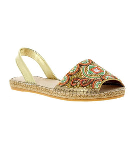 Jenna Gold Beading Flat espadrille sandal - Shop comfortable sneaker, Sandals & high quality flats, wedges online!