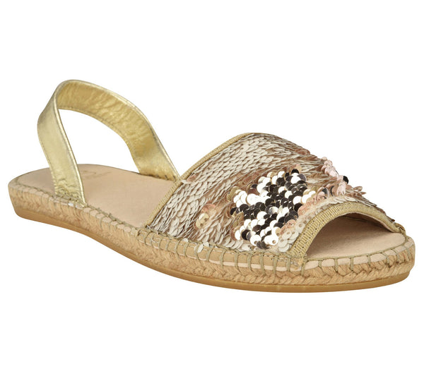 Jenna Beige Sequins Sandal - Shop comfortable sneaker, Sandals & high quality flats, wedges online!