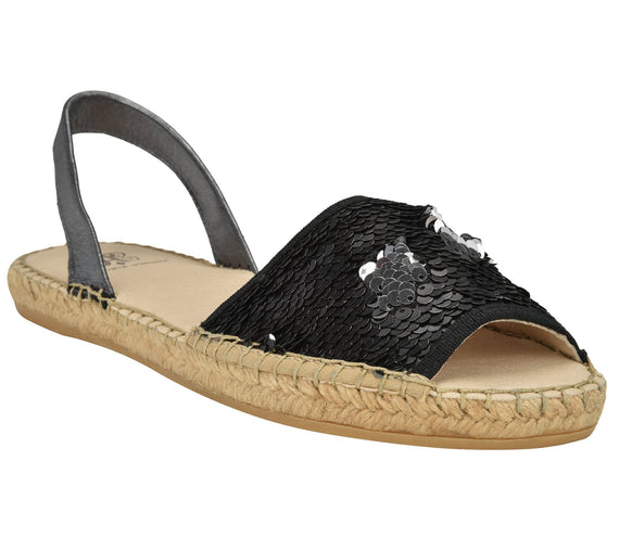 Jenna Black Sequin Flat espadrille Sandal - Shop comfortable sneaker, Sandals & high quality flats, wedges online!