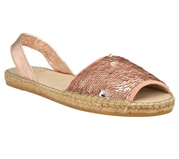 Jenna Salmon Sequin Flat espadrille sandal - Shop comfortable sneaker, Sandals & high quality flats, wedges online!