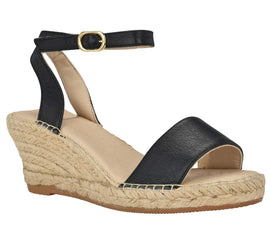 Leah Black leather espadrille Wedge sandal - Shop comfortable sneaker, Sandals & high quality flats, wedges online!