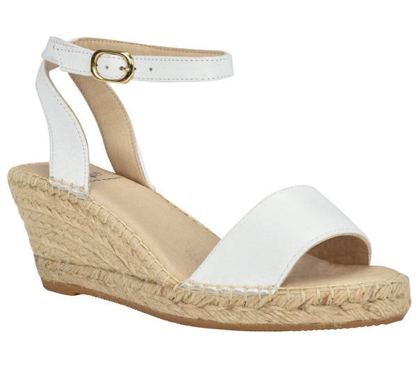 Leah White Wedge - Andrew Stevens Footwear