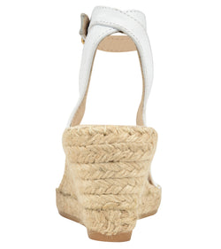 Leah White leather espadrille Wedge sandal - Andrew Stevens Footwear