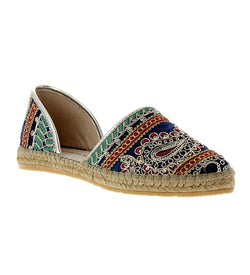 Chandra Navy Fabric-leather Espadrille Flat - Andrew Stevens Footwear