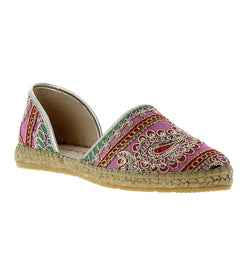 Chandra Pink fabric-leather Espadrille Flat - Andrew Stevens Footwear