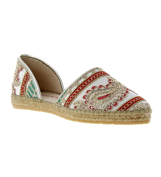 Chandra White fabric-leather Espadrille Flat - Andrew Stevens Footwear